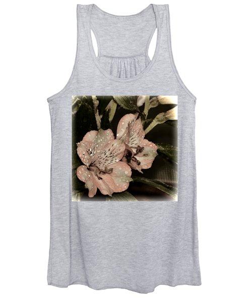 Pale Pink Lilies On Dark Background Women's Tank Top