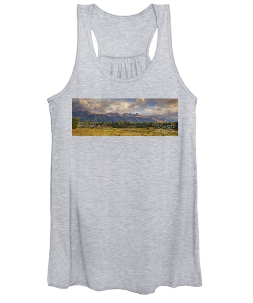 Panaroma Clearing Storm On A Fall Morning In Grand Tetons National Park Women's Tank Top