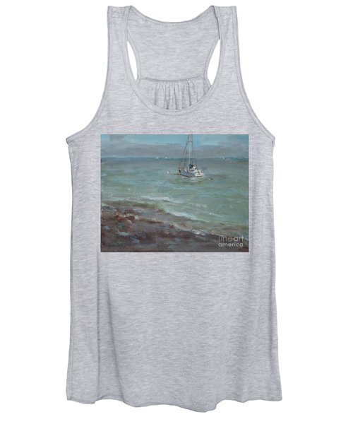 Pebbly Beach Sail Boat Women's Tank Top