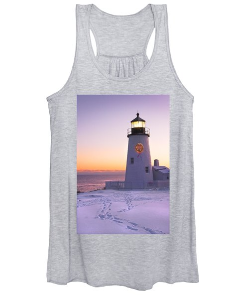 Pemaquid Point Lighthouse Christmas Snow Wreath Maine Women's Tank Top