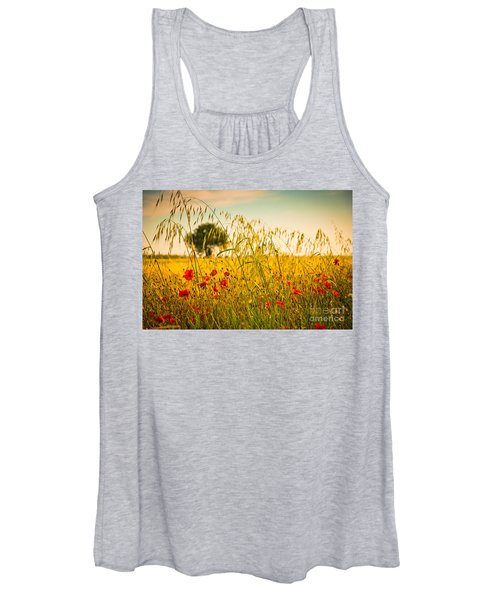 Poppies With Tree In The Distance Women's Tank Top