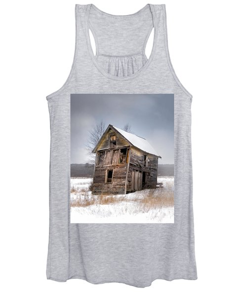 Portrait Of An Old Shack - Agriculural Buildings And Barns Women's Tank Top
