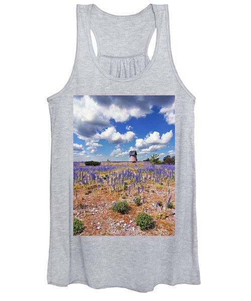 Purple Flower Countryside Women's Tank Top