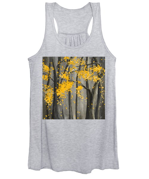 Rejuvenating Elements- Yellow And Gray Art Women's Tank Top
