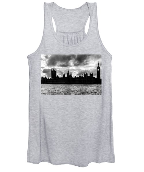 Silhouette Of  Palace Of Westminster And The Big Ben Women's Tank Top