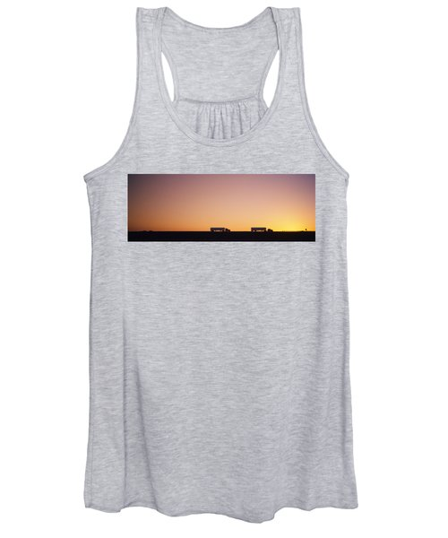 Silhouette Of Two Trucks Moving Women's Tank Top