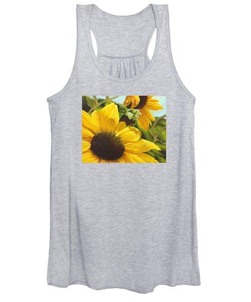 Silver Leaf Sunflowers Women's Tank Top