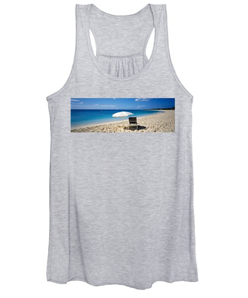 Single Beach Chair And Umbrella On Women's Tank Top