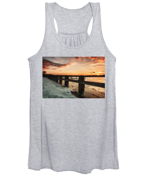 Snowy Sunset In Northport New York Women's Tank Top
