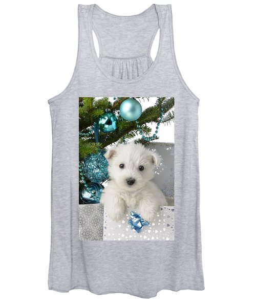 Snowy White Puppy Present Women's Tank Top