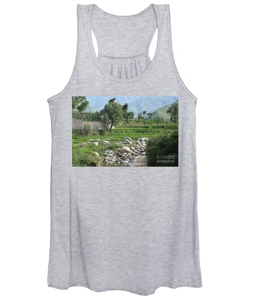 Stream Trees House And Mountains Swat Valley Pakistan Women's Tank Top