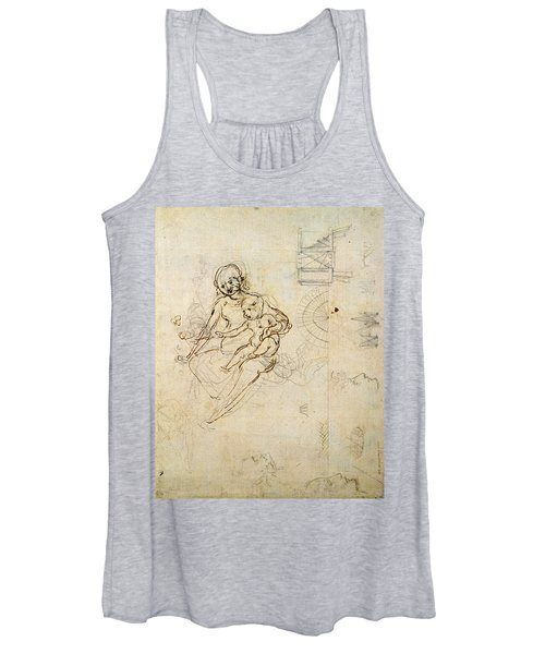 Studies For A Virgin And Child And Of Heads In Profile And Machines, C.1478-80 Pencil And Ink Women's Tank Top