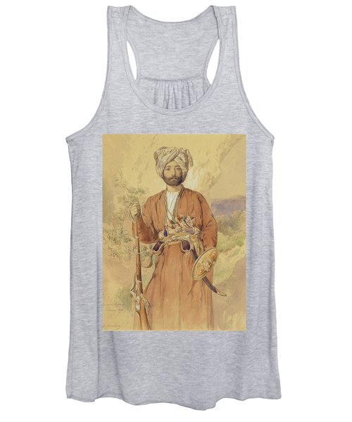 Study Of An Afghan Warrior, Tehran, 1848 Women's Tank Top