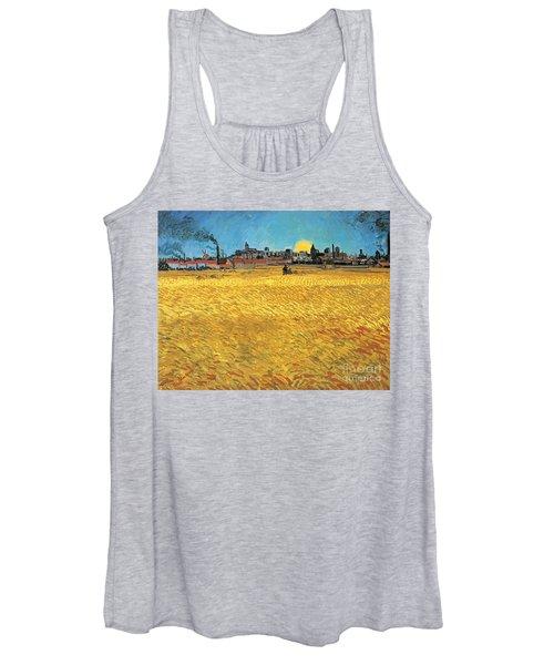 Summer Evening Wheat Field At Sunset Women's Tank Top