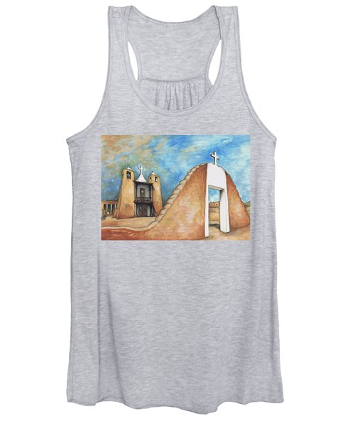 Taos Pueblo New Mexico - Watercolor Art Painting Women's Tank Top