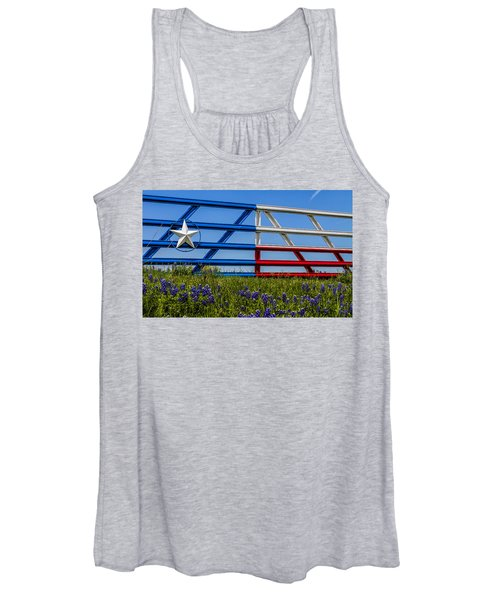 Texas Flag Painted Gate With Blue Bonnets Women's Tank Top
