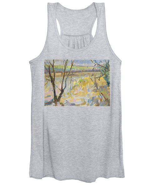 The Flooded Cherwell From Rousham II Oil On Canvas Women's Tank Top