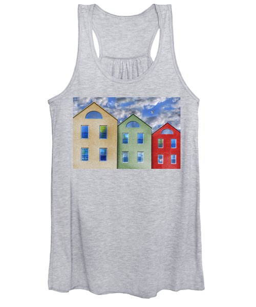 Three Buildings And A Bird Women's Tank Top