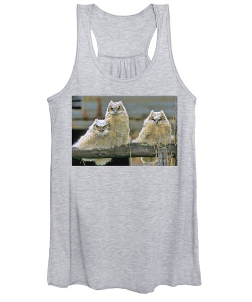 Three Great-horned Owl Chicks Women's Tank Top