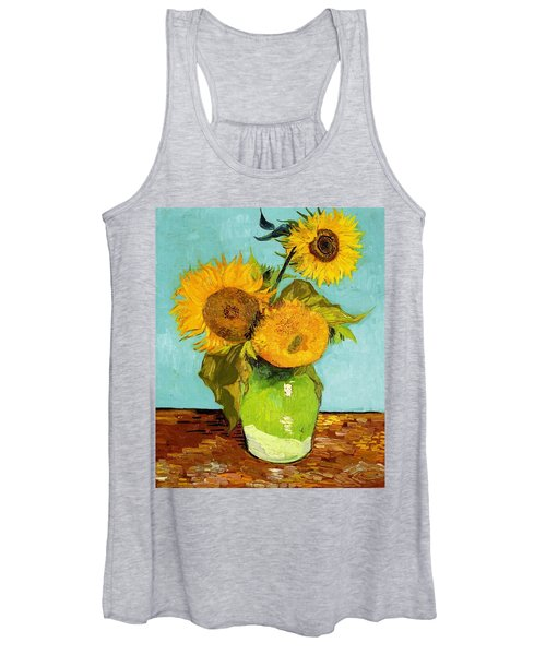 Three Sunflowers In A Vase Women's Tank Top