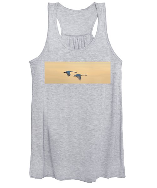 Trumpeter Swans In Flight At Sunset Women's Tank Top