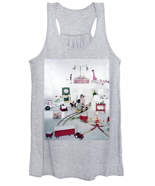Two Children Playing With Vintage Toys Women's Tank Top