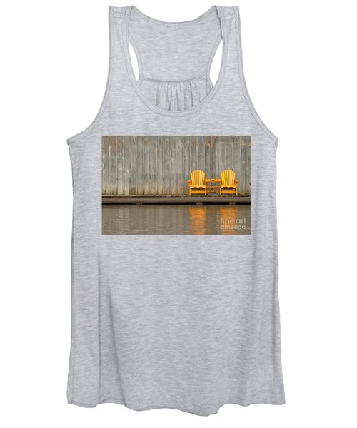 Two Wooden Chairs On An Old Dock Women's Tank Top