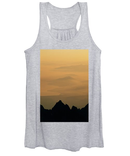 View Of Mist Over Lake And Hills Women's Tank Top
