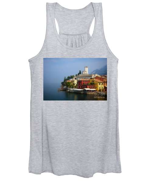 Village Near The Water With Alps In The Background  Women's Tank Top