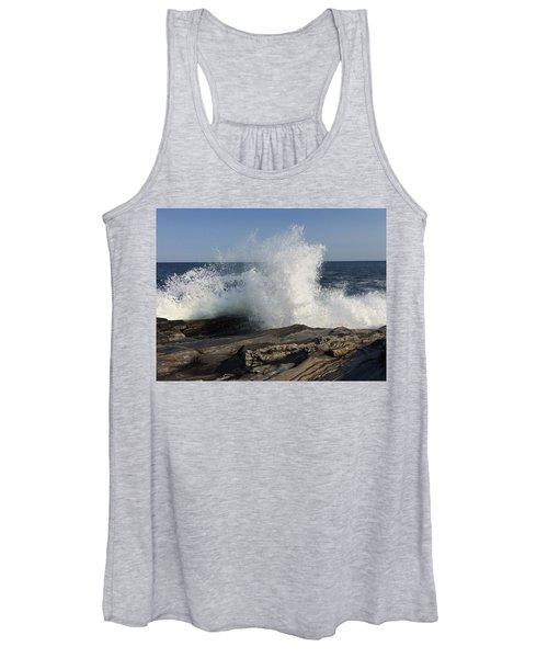 Waves Crashing On Rocky Maine Coast Women's Tank Top