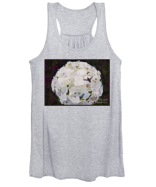 White Flower And Friendly Bee Mixed Media Painting Women's Tank Top