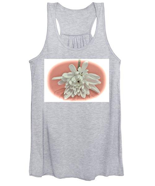 White Flower On Pale Coral Vignette Women's Tank Top