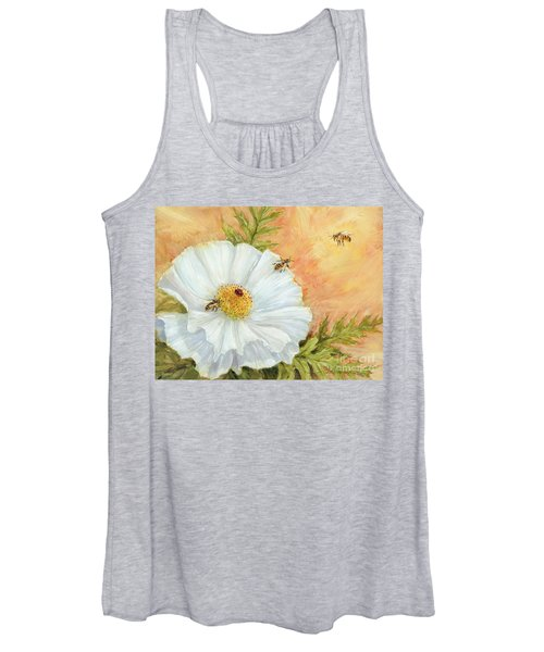 White Poppy And Bees Women's Tank Top