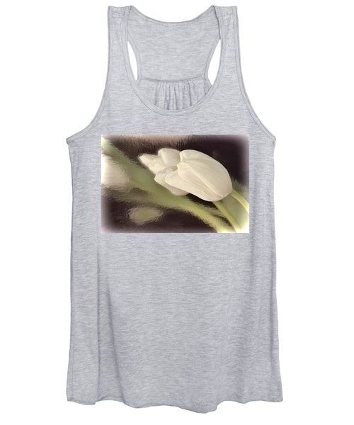 White Tulip Reflected In Misty Water Women's Tank Top