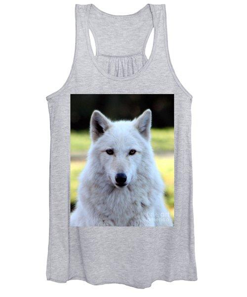 White Wolf Close Up Women's Tank Top