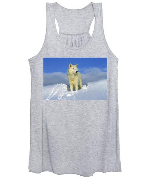 White Wolf In The Snow Idaho Women's Tank Top