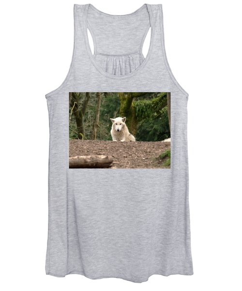 White Wolf Laying On Forest Floor With Awkward Look Women's Tank Top