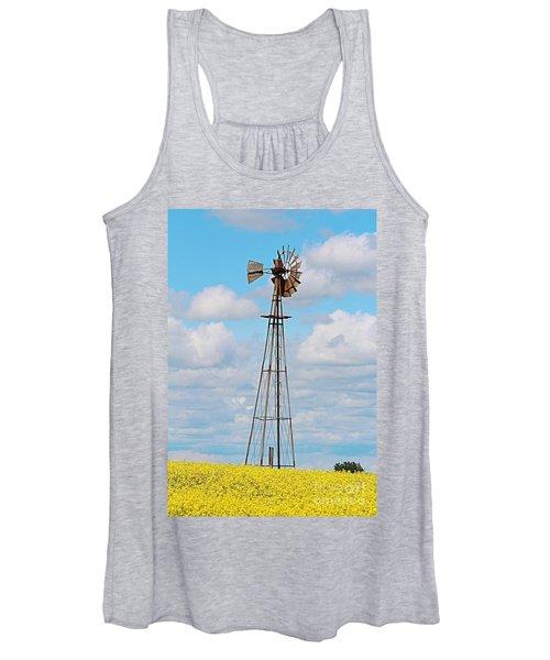 Windmill In Canola Field Women's Tank Top