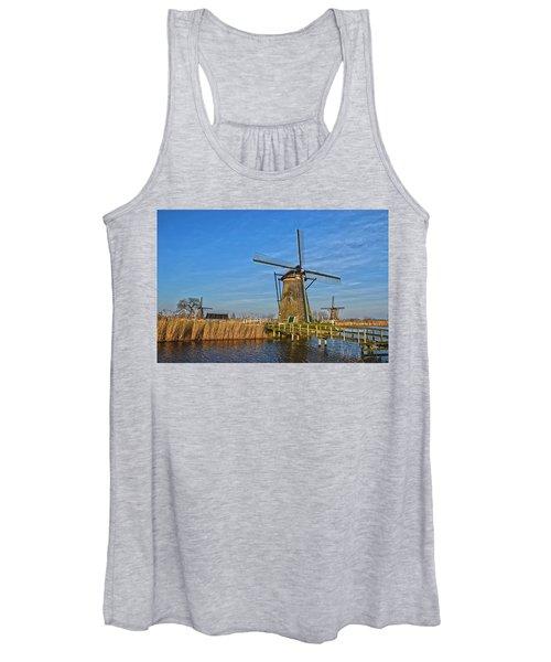 Windmills And Bridge Near Kinderdijk Women's Tank Top