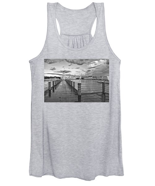 Yacht And Beach Lighthouse In Black And White Walt Disney World Women's Tank Top