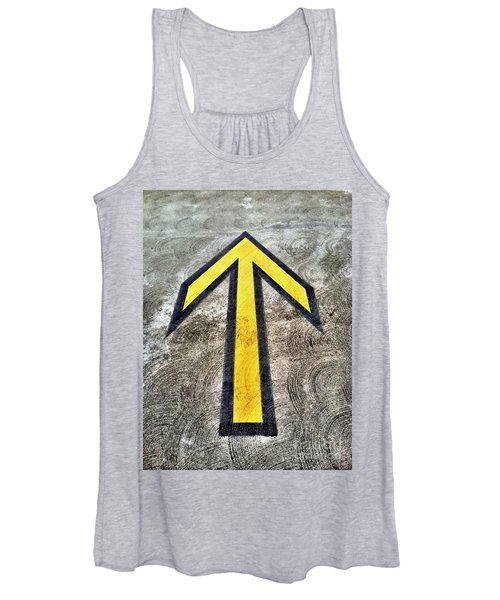 Yellow Directional Arrow On Pavement Women's Tank Top