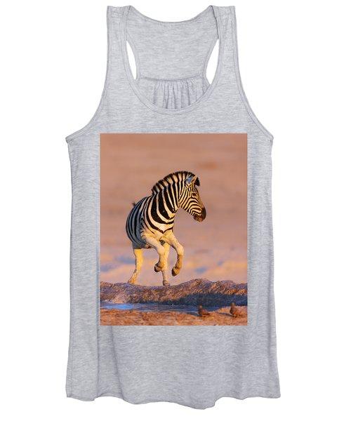 Zebras Jump From Waterhole Women's Tank Top