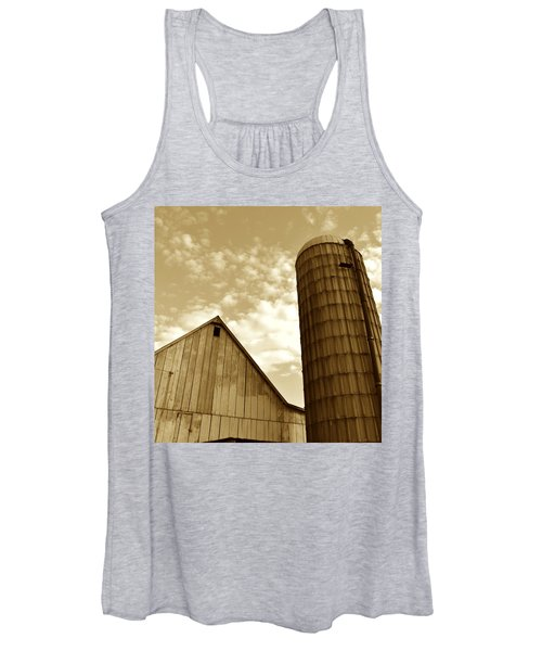 Barn And Silo In Sepia Women's Tank Top