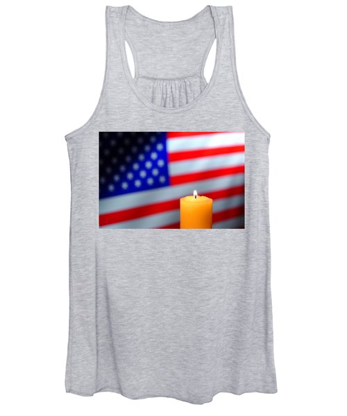 Candle And American Flag Women's Tank Top