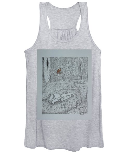 Canine Skull And Butterfly Women's Tank Top