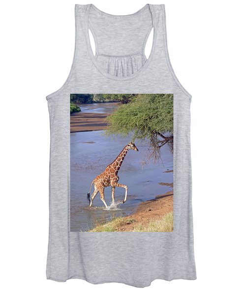 Giraffe Crossing Stream Women's Tank Top
