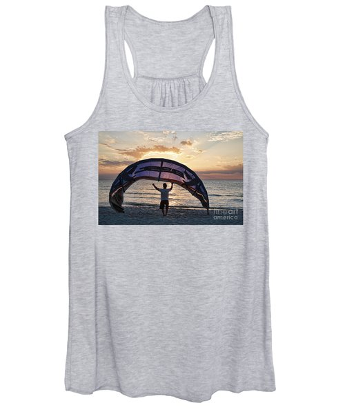 Putting Away The Kite At Clam Pass At Naples Florida Women's Tank Top
