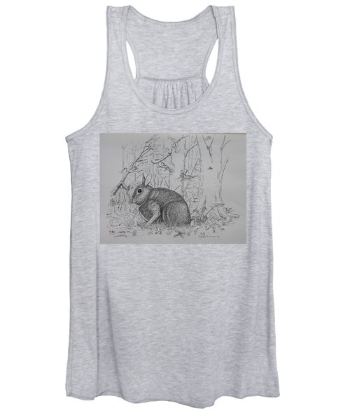 Rabbit In Woodland Women's Tank Top