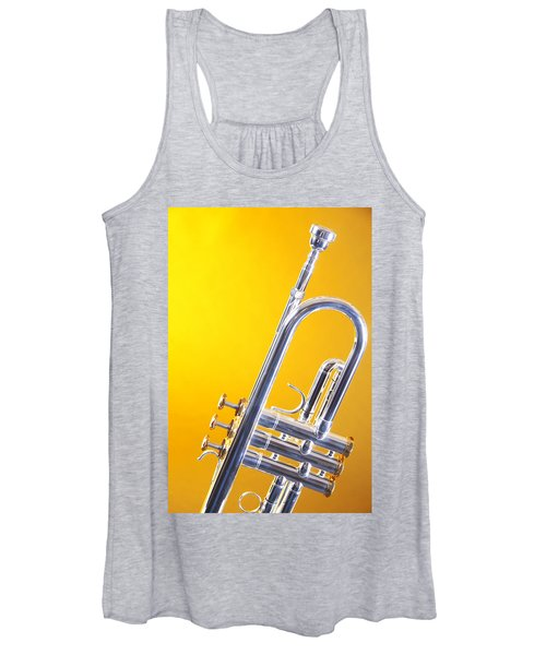 Silver Trumpet Isolated On Yellow Women's Tank Top