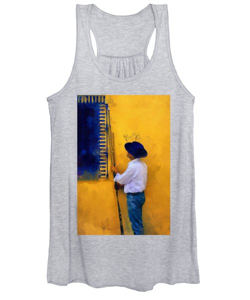 Spanish Man At The Yellow Wall. Impressionism Women's Tank Top